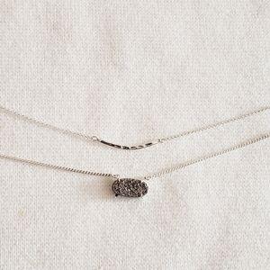 Luna Norte Silver Druzy Dainty Necklace Set